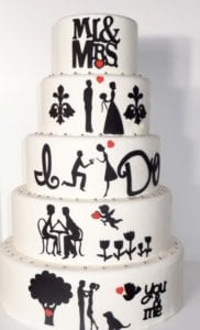 romantic couple cake