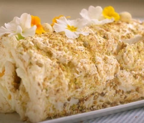 Easter Cake Biscuit Roll with Lemon Cream